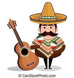 mexican man comic character vector illustration design