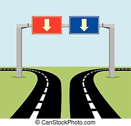 decision concept road sign