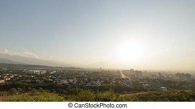 Sunset over Almaty. Zoom. View from Kok-Tobe. Kazakhstan....