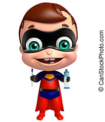 cute superbaby with Tooth brush and paste