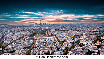 Aerial panorama of Paris, France with Eiffel Tower.