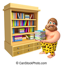 Caveman with Book Shelves