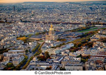 Aerial view of Les Invalides, Paris, France.