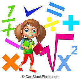 kid girl with math signs and digit
