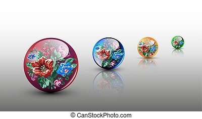glassy spheres - 3D colorful glassy spheres with flowers in...