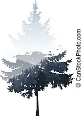 coniferous tree - Natural silhouette of coniferous tree with...