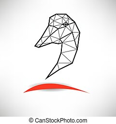 Schematic silhouette of poultry fowl or heron with many...
