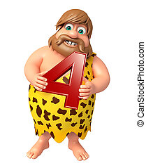 Caveman with Digit 4