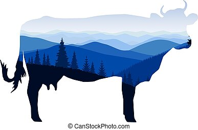 cow with winter mountain