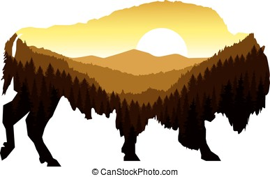 buffalo with panorama of mountain - Image landscape....