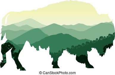 bison with mountain hills - Silhouette of bison with...