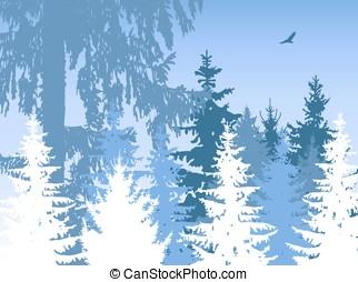 Woodland. Winter. - Landscape. Woodland. Winter.