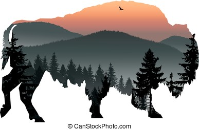 bison with mountain landscape - Silhouette of bison with...