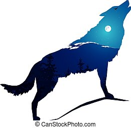 howling wolf - Image abstract. Silhouette of howling wolf...
