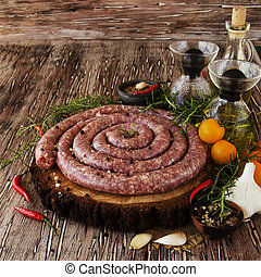 raw beef sausages, selective focus - raw beef sausages with...