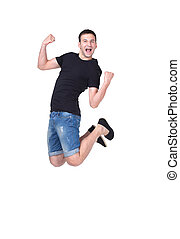 Jumping young man. Isolated over white background - awesome...