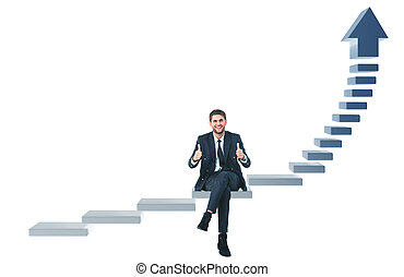 Businessman up the staircase over white background. ready...