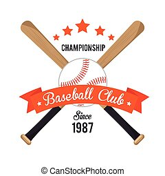 poster baseball crossed bats and ball stars