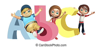 kid girl and kid boy with ABC sign
