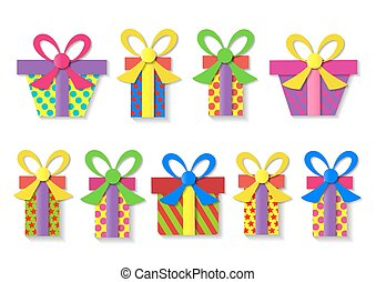 A set of colorful gift boxes.