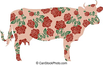 cow with color image of flowers - Silhouette of cow with...