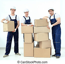 工人, 工業, 組, 在上方, 被隔离, 背景, 專業人員, 白色