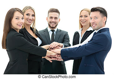 Business team showing unity with their hands together - Team...