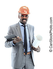 Confident ethnic architect wearing a hardhat against a white...