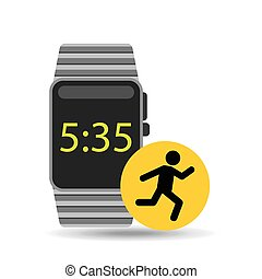 smart watch technology with character man run