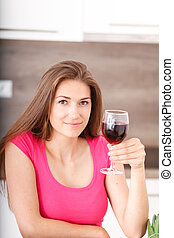 Portrait of a young girl and red wine - Beautiful young girl...