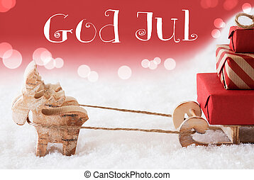 Reindeer With Sled, Red Background, God Jul Means Merry...