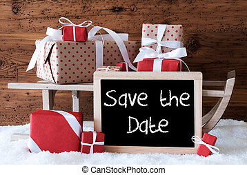 Sleigh With Gifts On Snow, English Text Save The Date -...