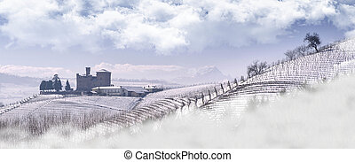 View of the Castle of Grinzane Cavour in winter with snow -...