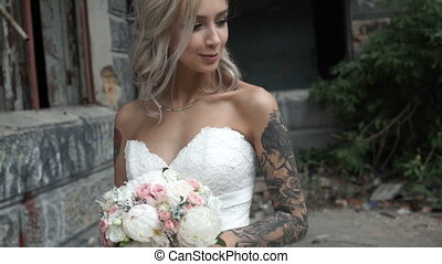 Beautiful bride with tattoos - Beautiful Bride with tattoo...
