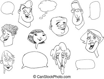 Faces doodles - Doodle set of various people faces