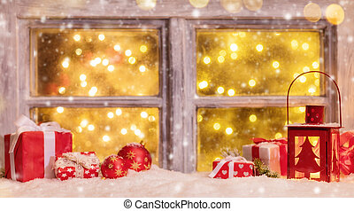 Atmospheric Christmas window sill with decoration and blur...