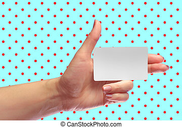 Left Female Hand Hold Blank White Card Mock-up. SIM Cellular...