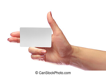 Right Female Hand Hold Blank White Card Mock-up. SIM...
