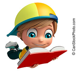 Kid boy with Book