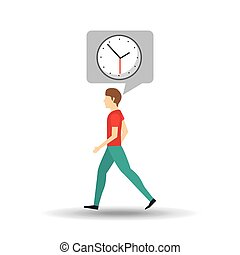 character bubble speech with clock time vector illustration...