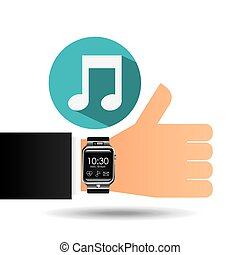 smart watch on hand- music note