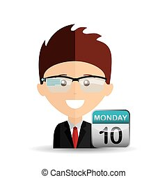 happy businessman calendar network media icon