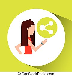 sport girl running with smart watch share icon