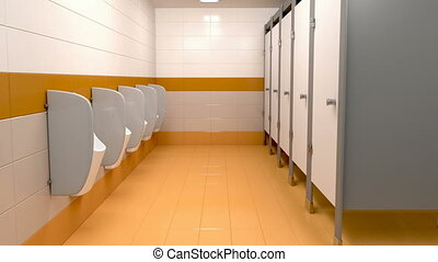 Men's public toilet - 3d animation of men's public toilet