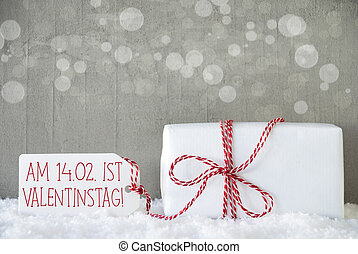 Gift, Cement Background With Bokeh, Valentinstag Means...