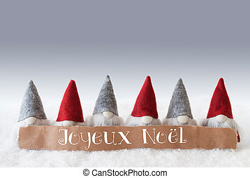 Gnomes, Green Background, Joyeux Noel Means Merry Christmas...