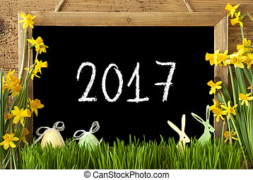 Narcissus, Easter Egg, Bunny, Text 2017 - Blackboard With...