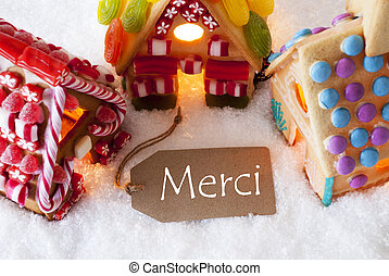 Colorful Gingerbread House, Snow, Merci Means Thank You -...
