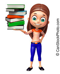 kid girl with  Bookstack - kid girl with Bookstack