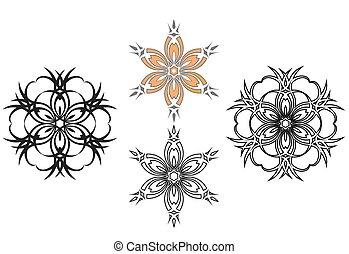 Four floral flowers